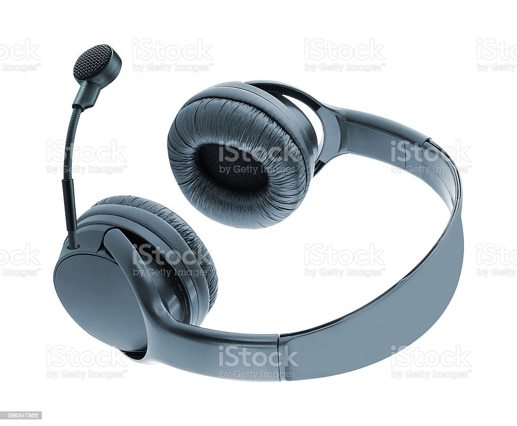 Headphones with Mic isolated on white royalty-free stock photo