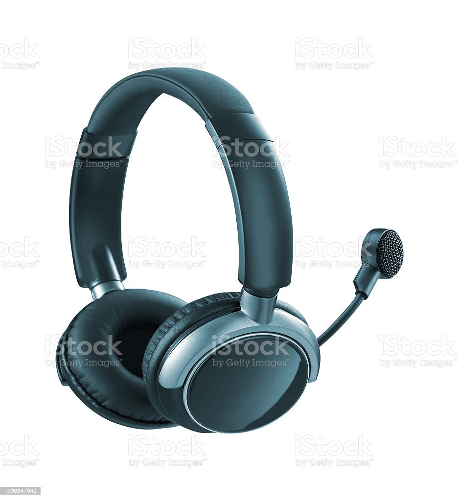 Headphones with Mic isolated royalty-free stock photo