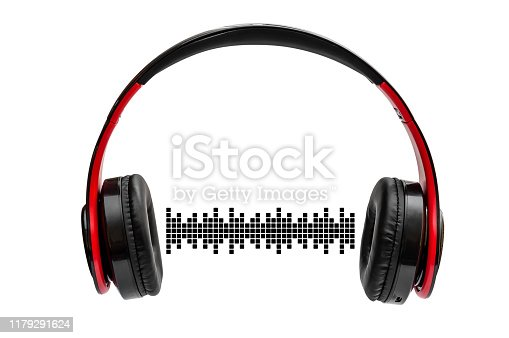 istock Headphones with sound waves. Isolated on white. 1179291624