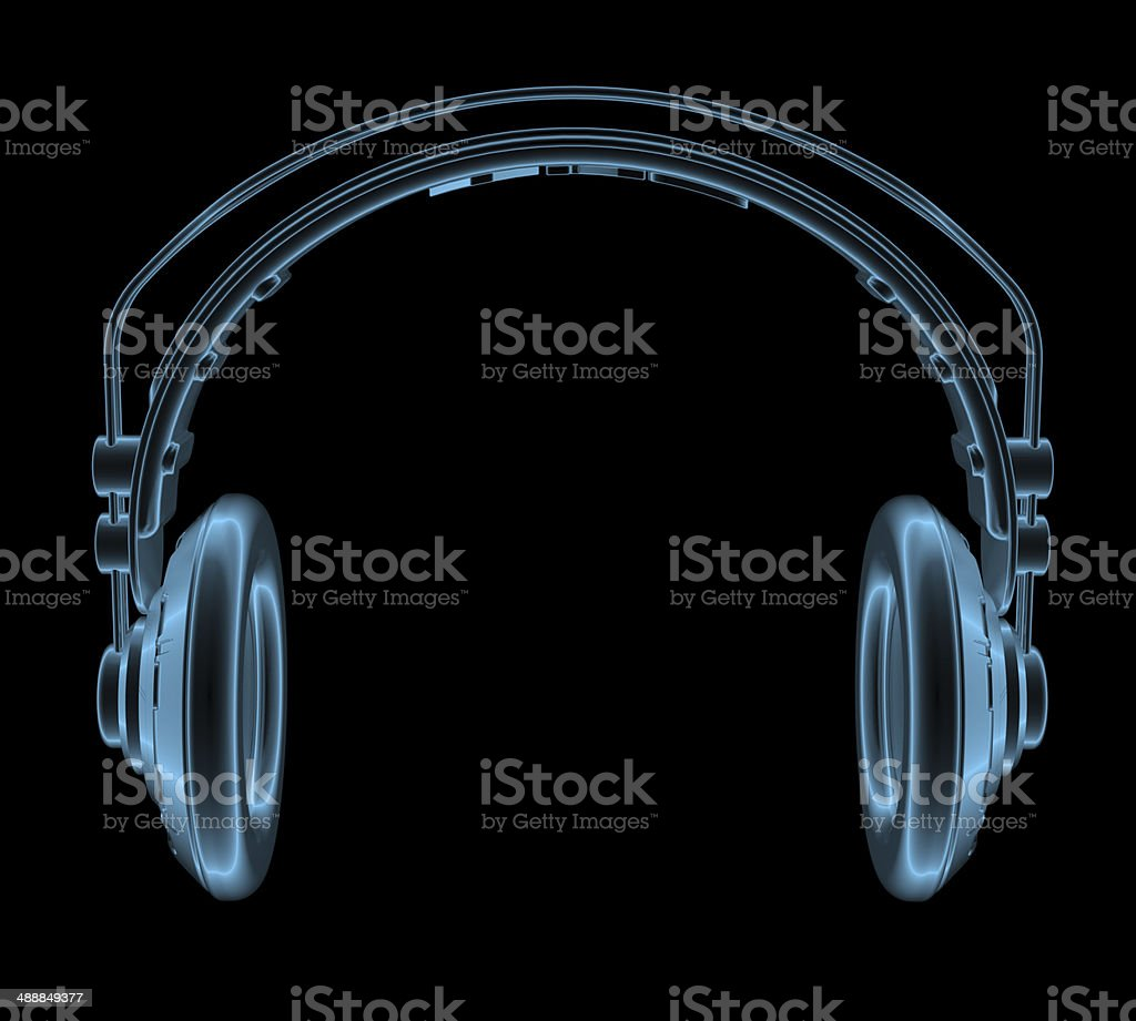 Headphones x-ray blue transparent isolated on black stock photo