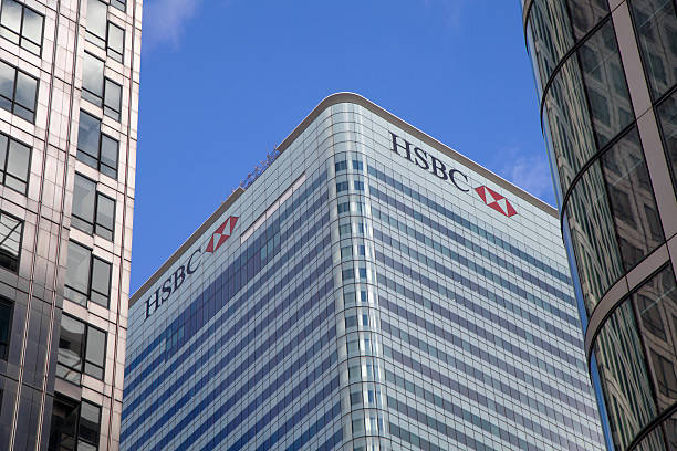 HSBC Headquarters Canary Wharf London, England - February 2, 2013: HSBC Headquaters in Canary Wharf, London. Daytime view from outside at ground level.  hsbc stock pictures, royalty-free photos & images