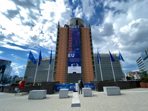 EU Headquarters in Brussels, Belgium EU Headquarters in Brussels, Belgium on June 18, 2020 berlaymont stock pictures, royalty-free photos & images
