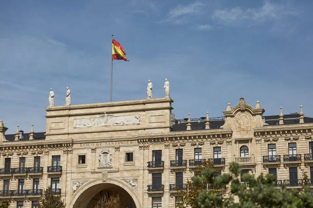 Headquarters of Banco Santander in Santander, Spain SANTANDER, SPAIN - SEPTEMBER 29, 2017: Headquarters of Banco Santander in Santander, Spain santander spain stock pictures, royalty-free photos & images