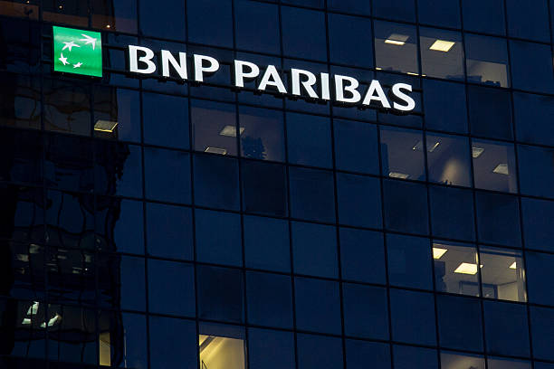 Headquarters of the BNP Paribas Bank for Quebec in Montreal stock photo