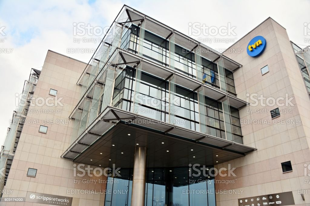 Headquarters  of the private television station TVN. stock photo