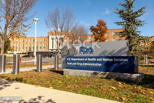 Silver Spring, MD, USA 11/10/2020: Exterior view of the headquarters of US Food and Drug Administration (FDA). This federal agency approves medications, vaccines and food additives for human use.