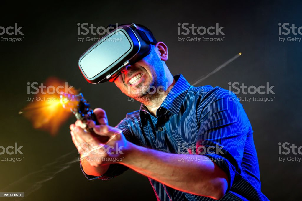 VR heads expirience action stock photo