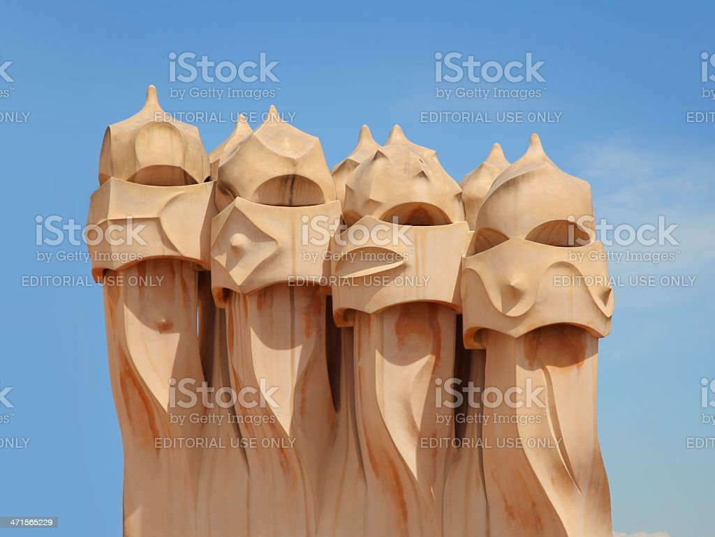 Heads of Casa Mila stock photo