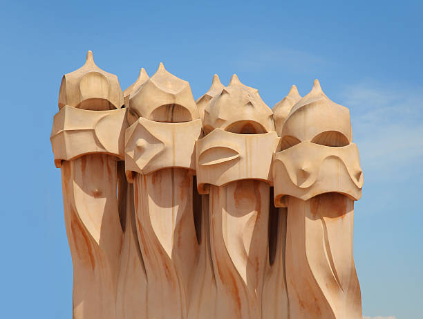 Heads of Casa Mila stock photo