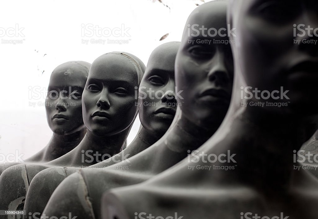Heads of female mannequins royalty-free stock photo