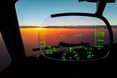 Heads Up Navigation Display. Flying at Sunset