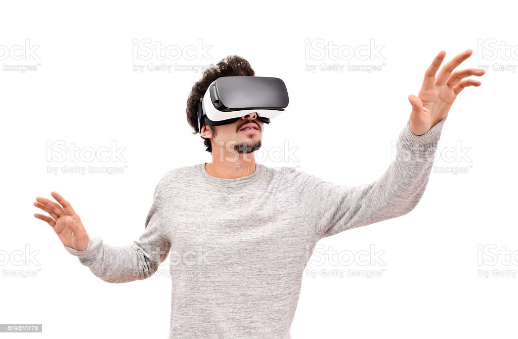 VR headset experience stock photo