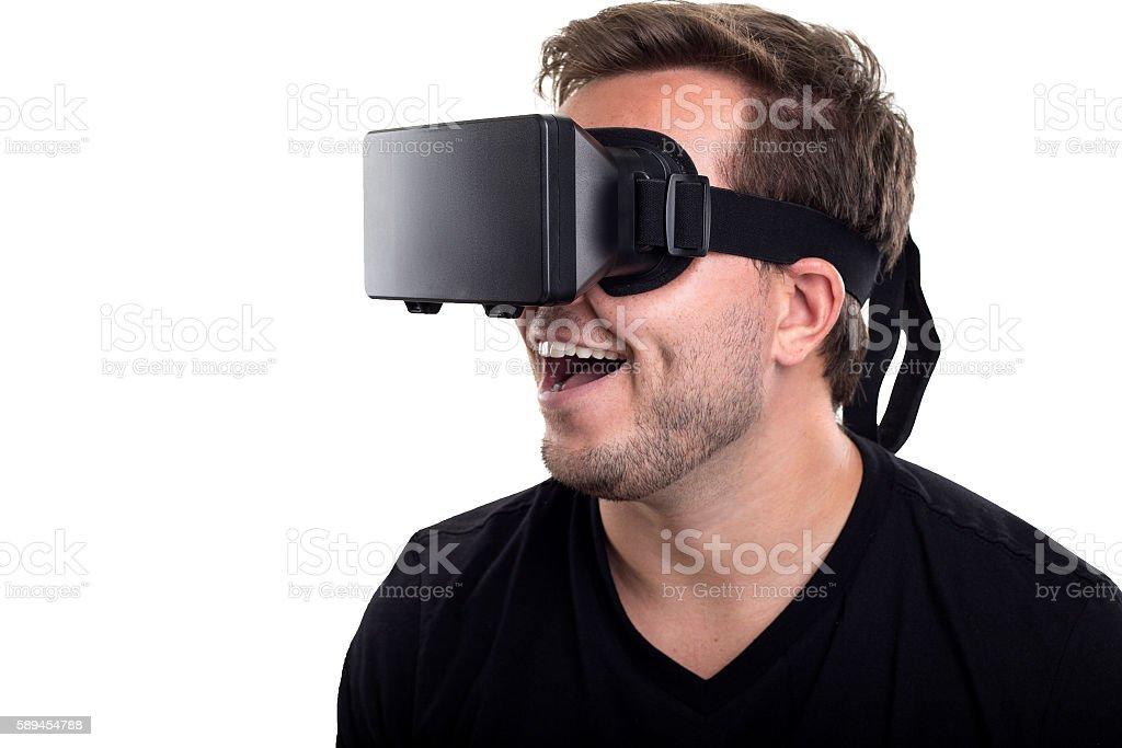 VR Headset on White Background stock photo