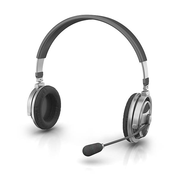 Headset 3d render. Headset isolated on white background. hands free device stock pictures, royalty-free photos & images