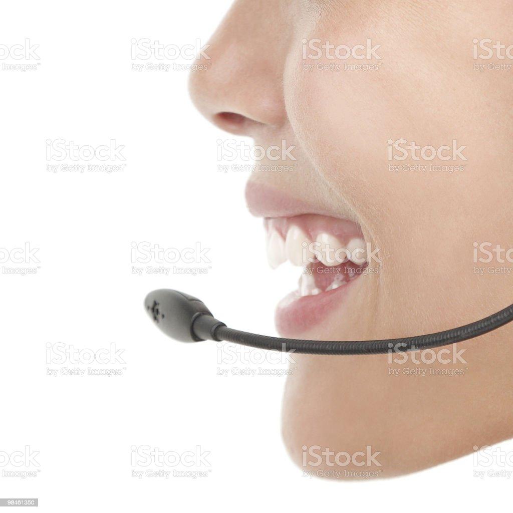 Headset woman closeup royalty-free stock photo