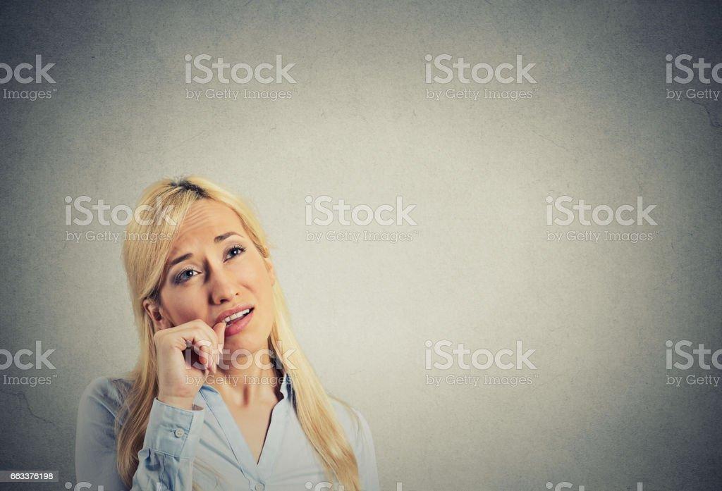 headshot lazy young woman. Human emotion attitude, perception stock photo