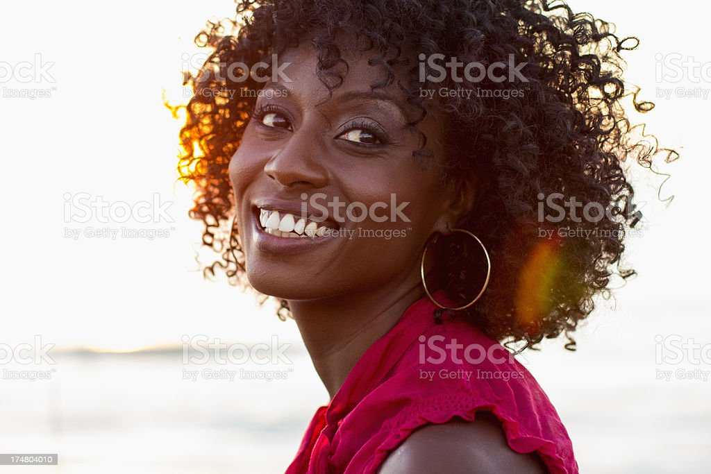 Headshot of a beautiful african amercan woman. royalty-free stock photo