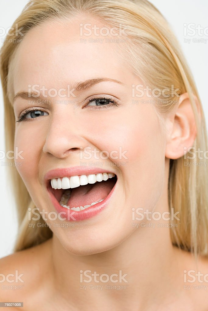 Headshot of a laughing woman royalty-free 스톡 사진