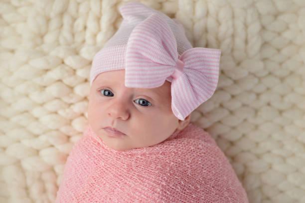 Headshot of a Newborn Baby Girl stock photo