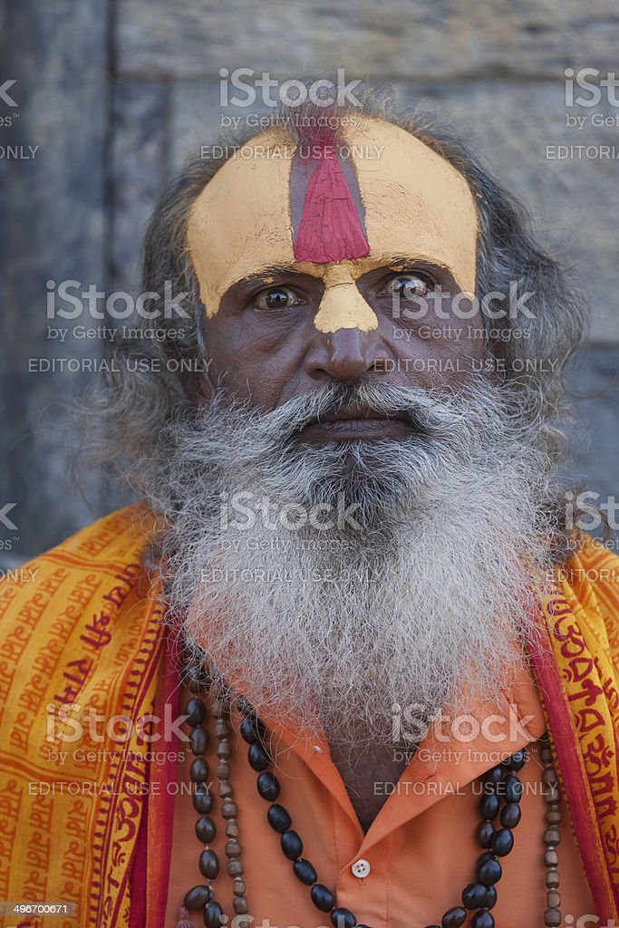 Headshot of a Sadhu (holy man) at Pashupatinath, Nepal royalty-free stock photo