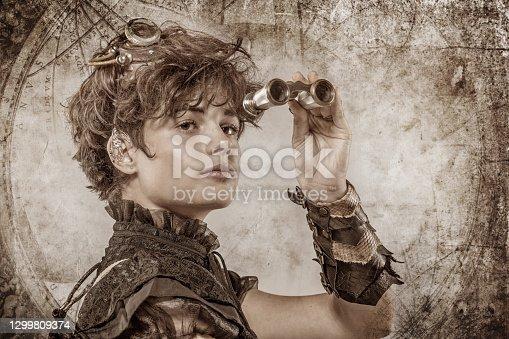 Headshot of a Steampunk female in a studio shot