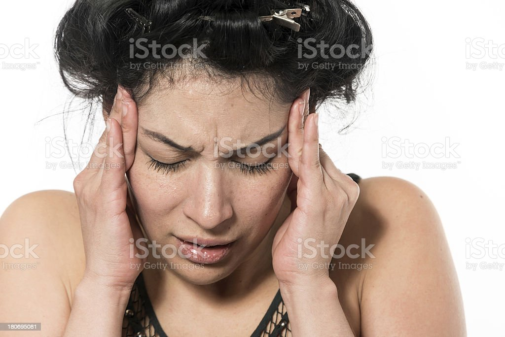 Headshot of a stressed out suffering woman royalty-free stock photo