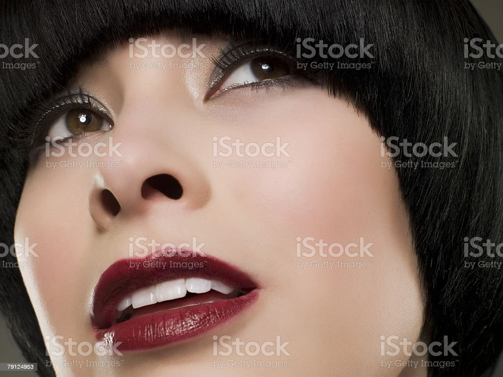 Headshot of a woman with bob hairstyle royalty-free 스톡 사진