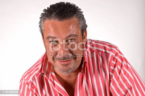 istock A headshot of an adult man sweating in a striped shirt. 116163039