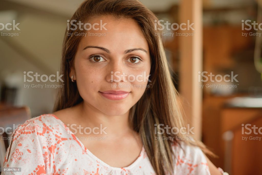 Headshot of attractive young aborigine woman stock photo