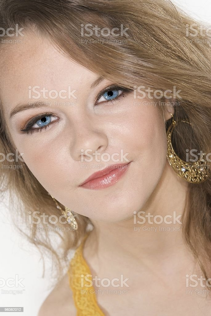 Headshot of Beautiful Teenager with Fashion Makeup royalty-free stock photo
