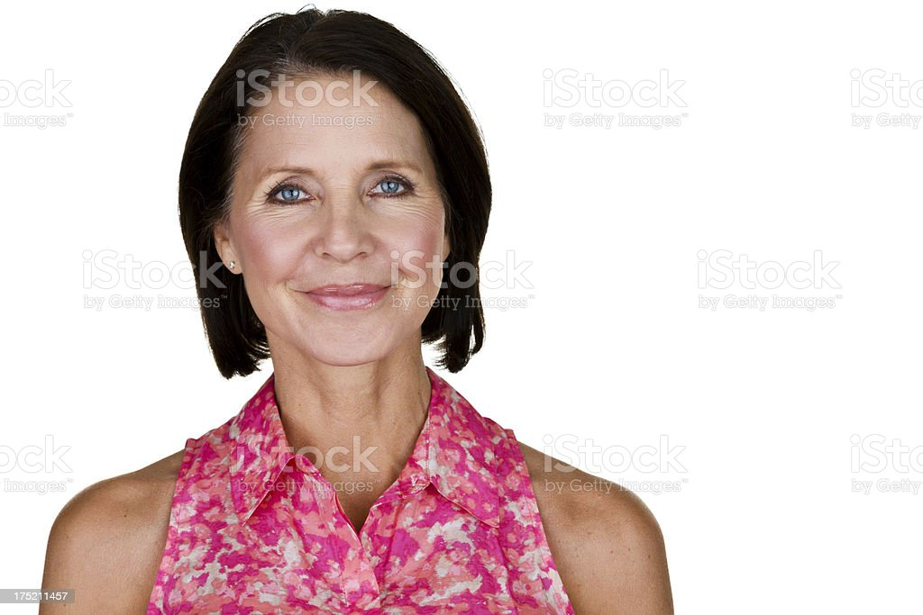 Headshot of beautiful woman in her 50s royalty-free stock photo