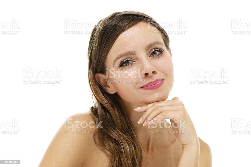 Headshot of beautiful woman looking at camera stock photo