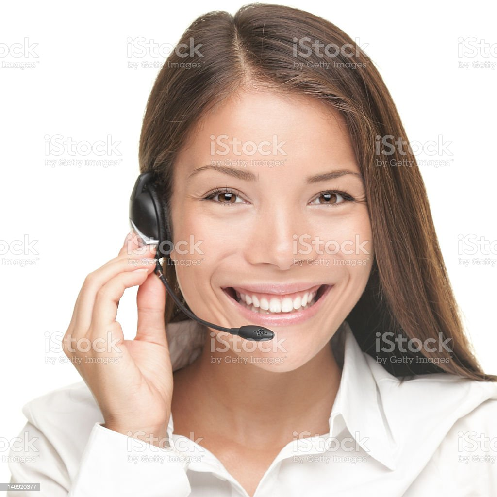 Headshot of customer service woman isolated on white royalty-free stock photo