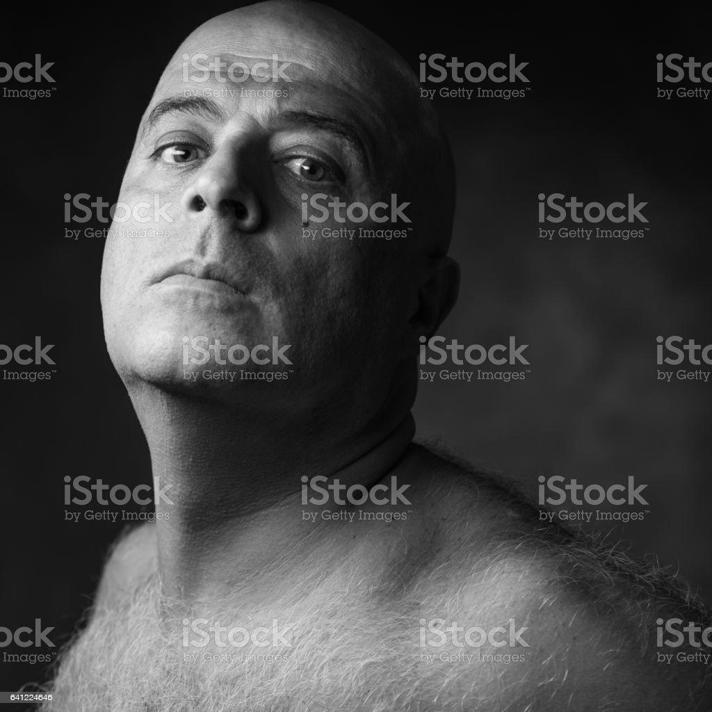 Headshot of man with an attitude stock photo