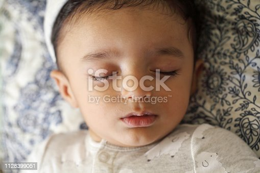 133910422 istock photo Headshot of sleeping newborn baby 1128399051