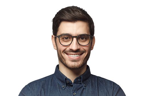 Headshot of smiling European Caucasian business man with haircut and glasses, isolated on white background