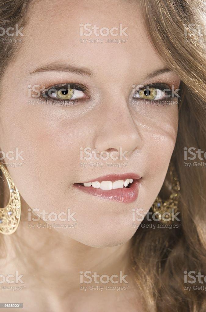 Ritratto del labbro inferiore adolescente Mordere foto stock royalty-free