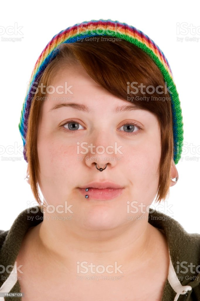 Headshot of unique pierced teenager royalty-free stock photo