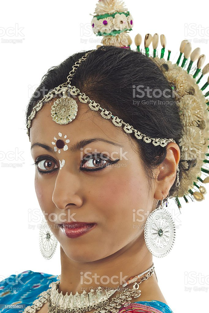 Headshot of Young Indian Woman in Traditional Dress royalty-free stock photo