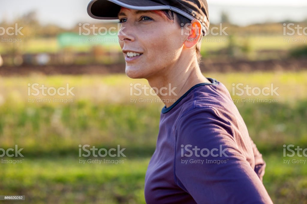 Headshot Portrait of Happy Active Young Woman stock photo