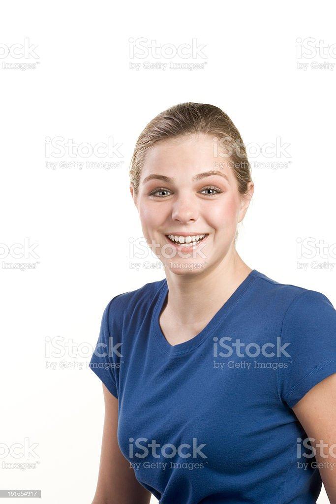 Headshot portrait of teenage girl in blue blouse royalty-free stock photo
