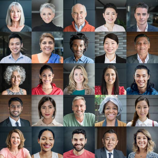 kopfschuss-porträts von diversen lächelnde menschen - große personengruppe stock-fotos und bilder