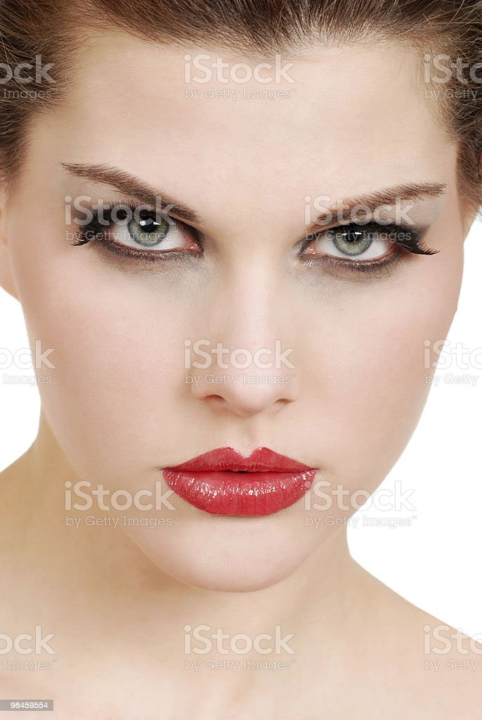 headshot young woman with red lipstick royalty-free stock photo