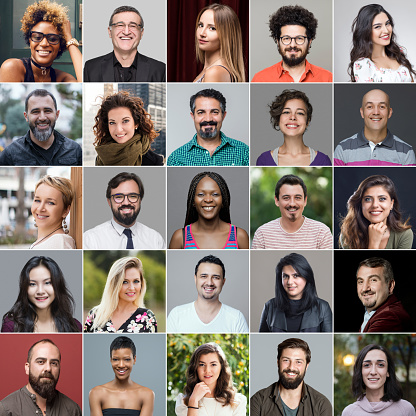 Headshot portraits of diverse smiling people