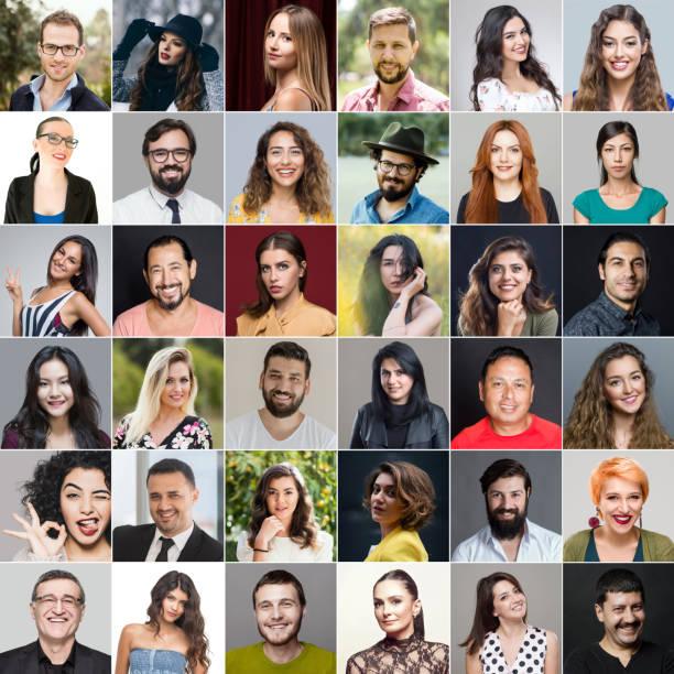 Headshots Of Multi-Ethnic Group stock photo