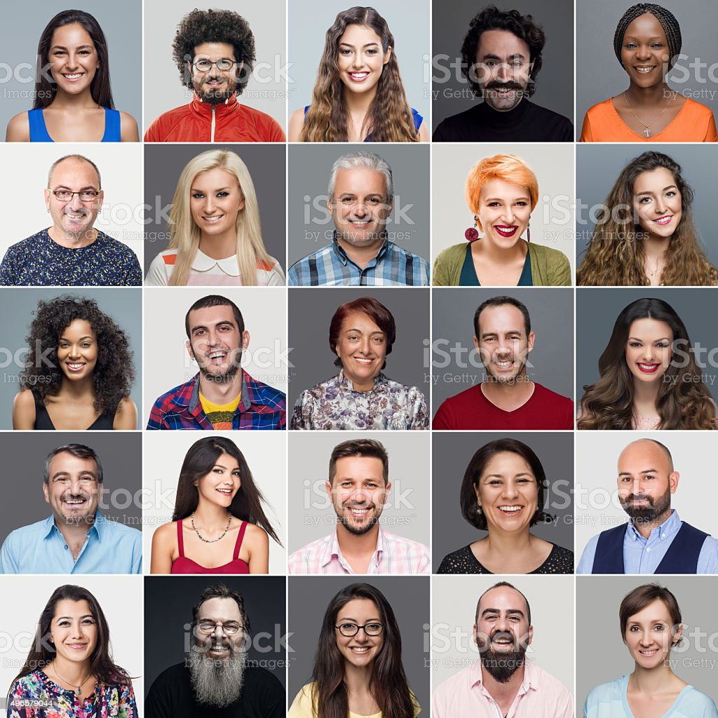 Headshots Of Multi-Ethnic Group stock photo