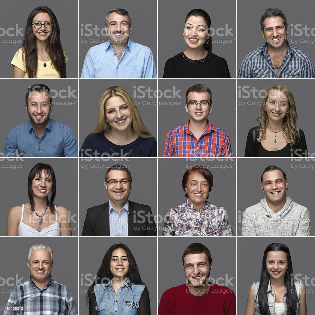 Headshots of multi-ethnic people stock photo