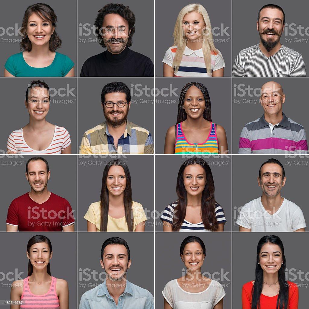 Headshots of multi-ethnic people smiling royalty-free stock photo