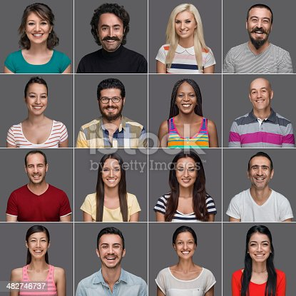 istock Headshots of multi-ethnic people smiling 482746737