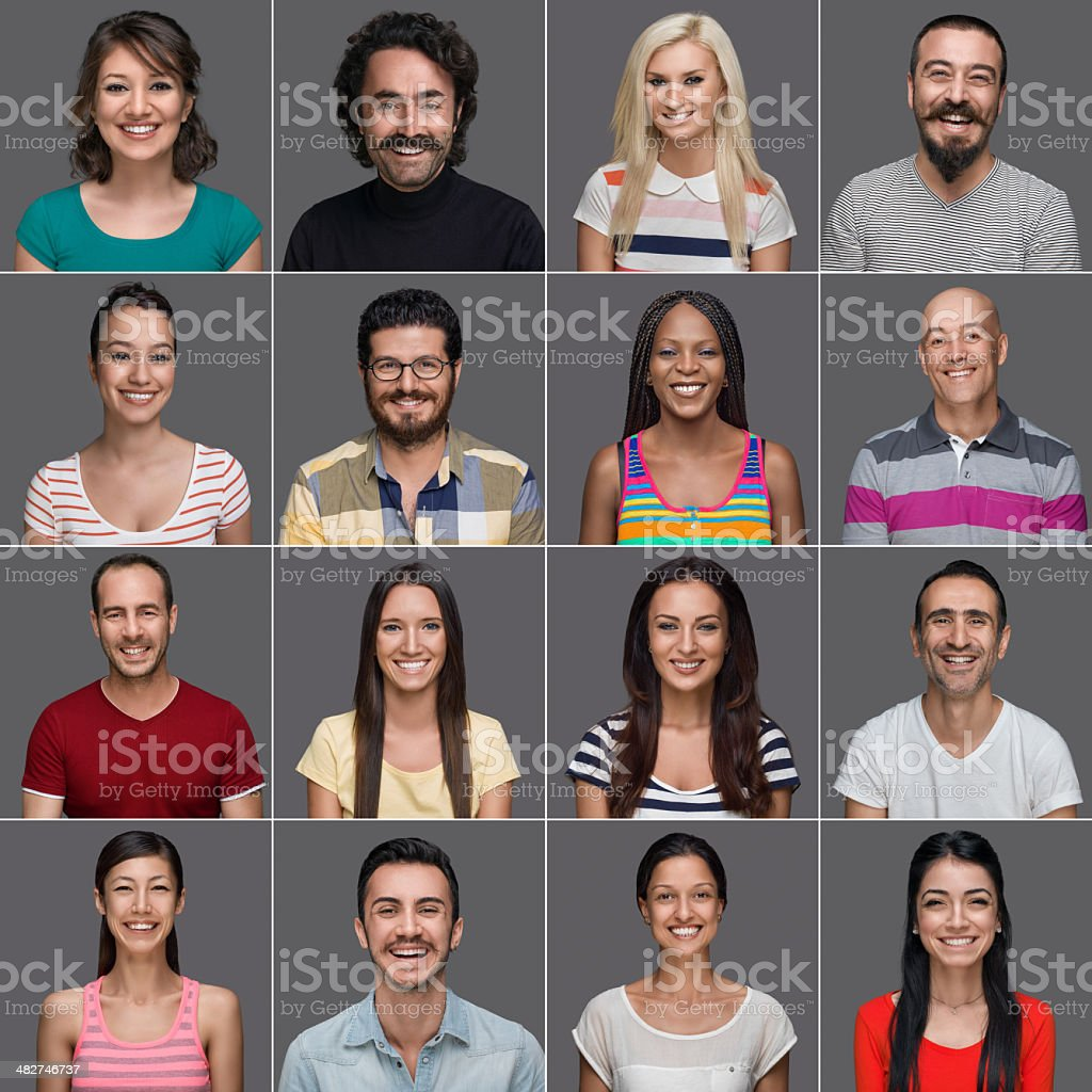 Headshots of multi-ethnic people smiling stock photo